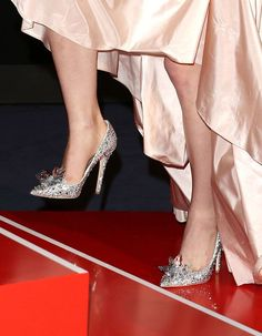 """Custom Jimmy Choo 'Cinderella' slippers, as worn by Lily James at the Berlin premiere of """"Cinderella"""" Jimmy Choo Cinderella Shoes, Cinderella Slipper, Jimmy Choo Shoes, Cinderella 2015, Jessica Chastain, Zuhair Murad, Blake Lively, Christian Dior, Christian Louboutin"""