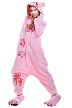 This pink onesie is guaranteed to make you stand out no matter where you are! The hoodie of the onesie is designed according to the face of Gloomy Bear, along with two ears, which makes the onesie ext