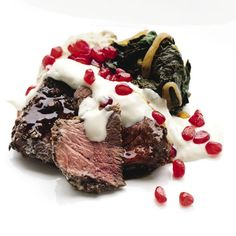 Venison with smoky eggplant purée, tahini dressing & pomegranate Wine Recipes, Great Recipes, Recipe Ideas, New Zealand Food, Wine News, Tahini Dressing, Food Articles, Venison, Foods To Eat