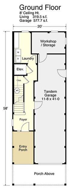 Coastal Homes, Beach Homes, Beach House Floor Plans, Tandem Garage, Architectural Design House Plans, Workshop Storage, Entry Foyer, Beach Girls, Ground Floor