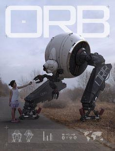 Gray robot and a small child Arte Robot, Robot Art, Drones, Mekka, Robot Concept Art, Illustrator, Blender 3d, Art Station, Science Fiction Art