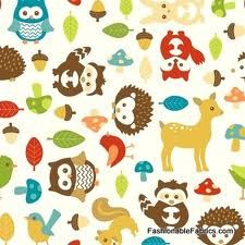Cute fabric. Cartoon hedgehog, deer, etc