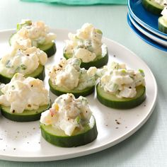 Shrimp & Cucumber Rounds1/2 pound cooked shrimp, peeled, deveined and finely chopped 1/2 cup reduced-fat mayonnaise 2 green onions, thinly sliced 1 celery rib, finely chopped 1 teaspoon dill pickle relish Dash cayenne pepper 1 medium English cucumber, cut into 1/4-inch slices Add to Shopping List Nutritional Facts 1 appetizer equals 20 calories, 1 g fat (trace saturated fat), 11 mg cholesterol, 38 mg sodium, 1 g carbohydrate, trace fiber, 1 g protein.