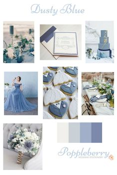 A collection of Dusty Blue ideas for a beautiful wedding colour scheme with stationery from www.etsy.com/uk/shop/Poppleberry