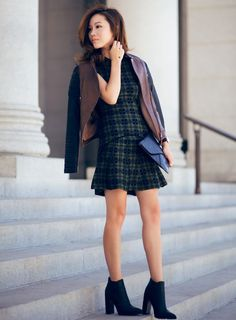 plaid outfit with brown leather jacket