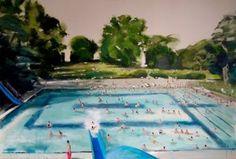 """Saatchi Art Artist Sanja Milenkovic; Painting, """"Swimming pool"""" #art"""