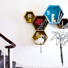 Honeycomb Wall Storage by bloq via housetohome: Available in 3 sizes in a variety of woods. #Storage #Honeycomb #Bloq #housetohome