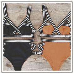 Women Bandage Bikini Set  Push-up High Waist Swimsuit Bandeau Padded Bra Swimwear sport Sexy Bathing Suit Cut Out Beach Wear