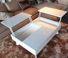 Tosh Furniture Modern White Lacquer Coffee Table - Flap Stores