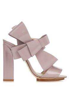 DELPOZO Patent-leather bow-embellished high-heel sandals. #delpozo #shoes #sandals