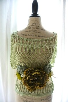 Crochet sweater sage green country chic shirt by TrueRebelClothing, $54.00