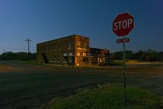 The lone building that still stands at the main intersection in the abandoned town of Eliasville, Texas.