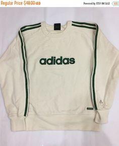 VENTE de NOËL Vintage des années 90 Adidas Sweatshirt vert Spellout veste Sport Trainer Pull Taille US S #S542