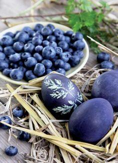 Naturalnie barwione, ziołowe pisanki | Werandacountry.pl Easter Eggs, Blueberry, Flora, Fruit, Easter Activities, Berry, Plants, Blueberries