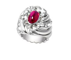 "BURMESE RUBY, DIAMOND AND PLATINUM ""WHIRL"" RING, BELPERRON Platinum ring mounting in a ""Whirl"" design centering a un-heated cabochon Burmese ruby weighing approximately 3.20 carats, set with 33 old-mine cut and transitional-brilliant cut diamonds weighing approximately 1.70 carats. Made in Paris between 1932 and 1955."