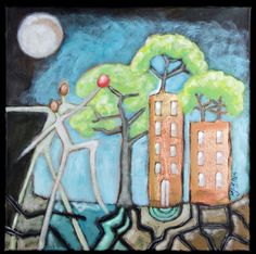 Buy Conversation with the Moon II, acrylic on canvas, Acrylic painting by Mariann Johansen-Ellis on Artfinder. Discover thousands of other original paintings, prints, sculptures and photography from independent artists.