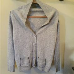 💥 FINAL SALE 💥 Anthropologie sweater Super soft gray sweater cardigan from Anthropologie. Has navy blue stitched elbow pads & detailing. Short in the back. Size tag says medium but fits more like a size small 🌙 excellent condition!     • make an offer! ^_^ • Anthropologie Sweaters