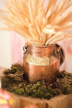 Bronze Milk Jug + Wheat Stems from a Girly Little Farm Birthday Party via Kara's Party Ideas | KarasPartyIdeas.com (5)