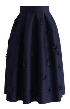 Falling Flowers Airy Pleated Midi Skirt in Navy - Bottoms - Retro, Indie and Unique Fashion