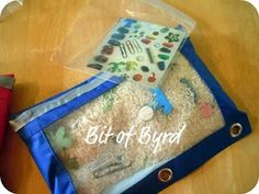 """Here is an """"I Spy"""" game made out of a pencil carrier! Rice and trinkets go inside. You can can make an """"answer key,"""" or just let it be a surprise!"""