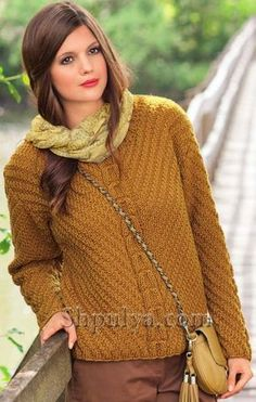 Пуловер с центральной косой