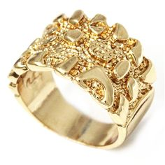 Gold Nugget Ring Solid Vintage Mens Hiphop Jewelry Bling 15mm (8). Dimensions: 15mm W x 13mm H. Finish: Gold Plated. Color: Yellow Gold. Weight: 9 grams. Sizes: 6-12.