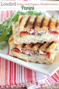 Loaded Turkey And Hummus Mediterranean Panini With Unsalted Butter Sourdough Bread Hummus Turkey Breast Provolone Cheese Sliced Cucumber Roasted Red Peppers Kalamata Feta Cheese Crumbles Purple Onion Think Food, I Love Food, Good Food, Yummy Food, Tasty, Panini Sandwiches, Wrap Sandwiches, Plats Healthy, Beste Burger