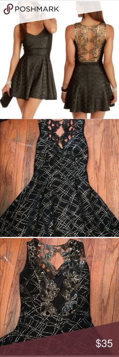 252f023bde7 Black and gold skater dress Never worn. Open back with lace detail. Fit and  flare. Size small from Windsor. No longer available in store or online.  across ...