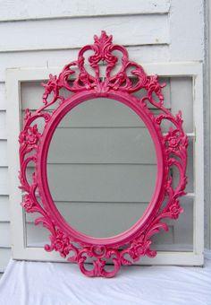 Shabby Chic Baroque Oval Mirror - Pink Coral - Ornate Mirror - Home Decor - Wedding - Baroque Mirror - Shabby Mirror - Nursery - Girl Decor on Etsy, $145.00