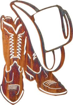 Western Boots and Cowboy Hat Metal Wall Art 18-inch, Kathryn Darling rustic-artwork