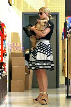 Diana Agron in an adorable outfit with an even more adorable pup.