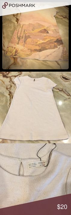 Zara Girls Soft Collection Dress Size 9/10 Textured Girls Dress by Zara, size: 9/10, color: Beige Multi color, short sleeve, fabric: polyester / viscose, new without tag Zara Dresses Formal