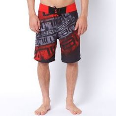 Animal Men's Bepi Fixed Waist 20x22; Boardshorts - Bright Red Print.
