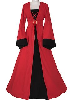 Black and red costume gown inspired by the late 15th Century. Bell sleeves, laced bodice, empire waist, split over skirt, and back train. By Dornbluth costumes