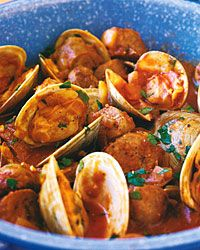 Cataplana stew with sausage and clams from Portugal. Mmm!