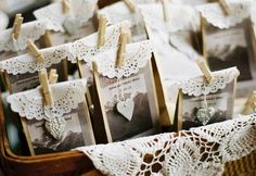 Love these little brown paper bags with printed label, doily top, wooden peg and ceramic heart