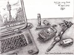 My Office Desk - Sketching by Alok Kumar in Still Life at touchtalent 65530
