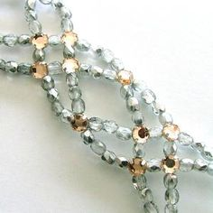 Swarovski crystals woven bracelet, free downloadable PDF pattern.   #handmade #jewelry #beading