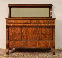 Antique Tiger Oak Sideboard Buffet Mirror Shelf By