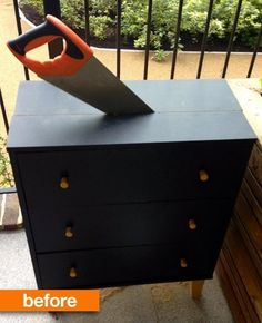 Cut a chest of drawers in half, put hinges on the door fronts to convert to shoe storage by the door?