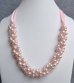 pearl necklace,pink pearl necklace,Ribbon Ties necklace,pink Ribbon ,Glass Pearl Necklace,Wedding necklace.bridesmaid necklace,Jewelry