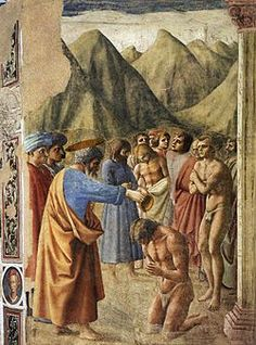 Brunelleschi, Battesimo dei Neofiti, 1426, Affresco, Cappella Brancacci, Chiesa di Santa Maria del Carmine, Firenze.