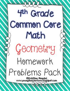 4th Grade Common Core Math Homework/Printables. I love having these for morning work, spiral review, homework, test prep, etc. They make my life so easy!!!$
