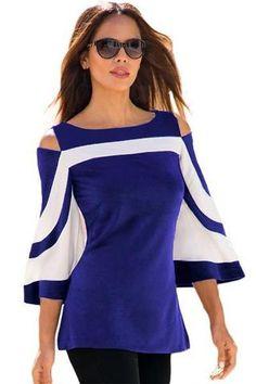 Blue White Bell Sleeve Her Fashion Cold Shoulder Modern Top