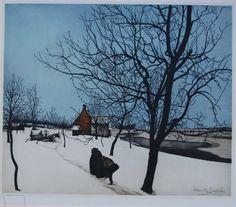 Valerius De Saedeleer (1867-1941 Belgium) - sneeuwlandschap (winterscene) - etching on paper