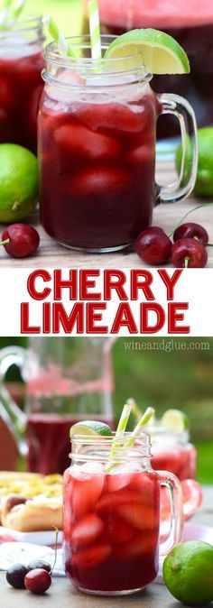 This Cherry Limeade is delicious, refreshing, and so easy to make! Perfect for summer! This Cherry Limeade is delicious, refreshing, and so easy to make! Perfect for summer! Fruit Drinks, Smoothie Drinks, Non Alcoholic Drinks, Party Drinks, Cocktail Drinks, Cocktails, Limeade Drinks, Cold Drinks, Protein Smoothies