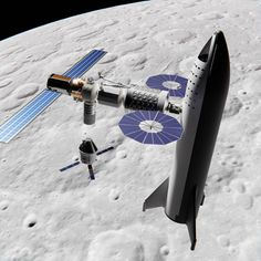 Picture of the Day - the stage of SpaceX's Big Falcon Rocket (BFR) - the Big Falcon Ship/Spaceship (BFS) docked to NASA's future Lunar Orbital Platform-Gateway by digital artist Mack Crawford (brickmack). Space Projects, Space Crafts, Spacex Starship, Kerbal Space Program, Spaceship Concept, Space And Astronomy, Space Station, Space Shuttle, Deep Space