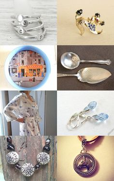 Silver and Gold with a Touch of Blue by StephG Watson on Etsy--Pinned with TreasuryPin.com