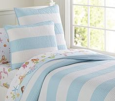 Rugby Stripe Quilted Bedding #PotteryBarnKids
