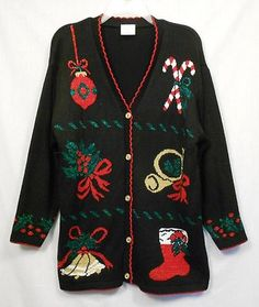 Style Studio UGLY Christmas Sweater Sz M Acrylic Black Long Slv Bells Stocking